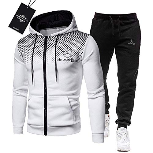 BOLGRTYXC de Los Hombres Chandal Conjunto Trotar Traje Mercedes-Ben.Z A.M.G Hooded Zipper Chaqueta + Pantalones Deporte R de Los Hombres/Blanco/L