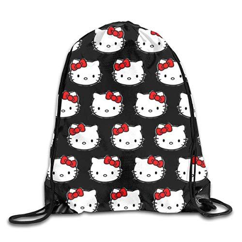 zicheng Classic Kitty Drawstring Bag Print Shoulder Bags Sackpack Sport Gym Backpack Storage Bag