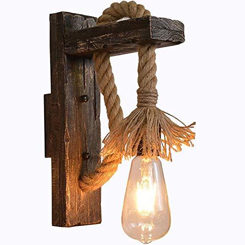 Lyghtzy Vintage Industrial Lampara Pared Creativo Cáñamo Cuerda Aplique Pared Interior para Dormitorio Pasillo Restaurante Bar Decoración (K)