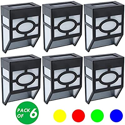 Solar Wall Lights, LED Outdoor Decorative Deck Lights, Garden, Fence Post, Patio, Front Door, Stair, Landscape, Yard, Driveway, Path Lighting, Warm White & RGB Color Changing, 6 Packs