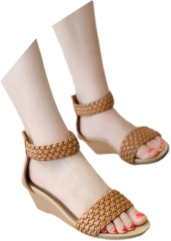 Fheaven (TM) Women Sandals Summer Bohemia shoes Wedges Braided Strap Middle Heel Sandals White
