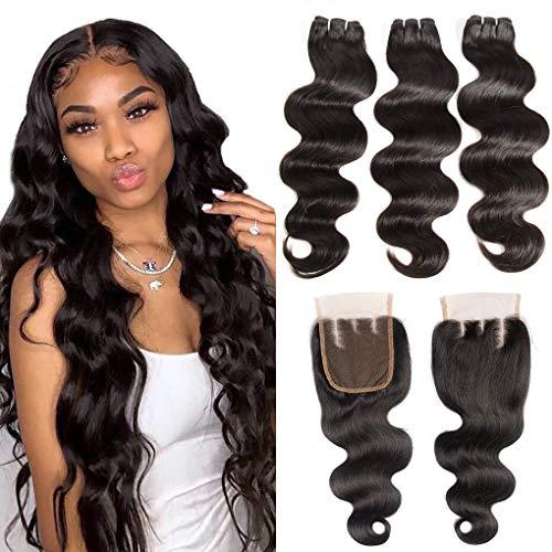 Brazilian Body Wave Bundles with Closure 8A Unprocessed Virgin Hair 3 Bundles with 4x4 3 Part Lace Closure (10 12 14+10) 10A Ocean Wave Human Hair Bundles with Closure 70g/bundle