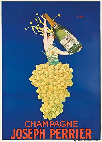 Vintage bieren, wijnen en sterke drank 'Joseph Perrier Champagne', Frankrijk, 1920, 250gsm Zacht-Satijn Laagglans Reproductie A3 Poster