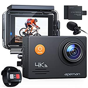 APEMAN A79 4K Action Camera 20MP WiFi External Microphone 2.4G Remote Control Underwater Waterproof 40M Sports Vlog Webcam Camcorder with 2 Rechargeable Batteries and Accessories Kits