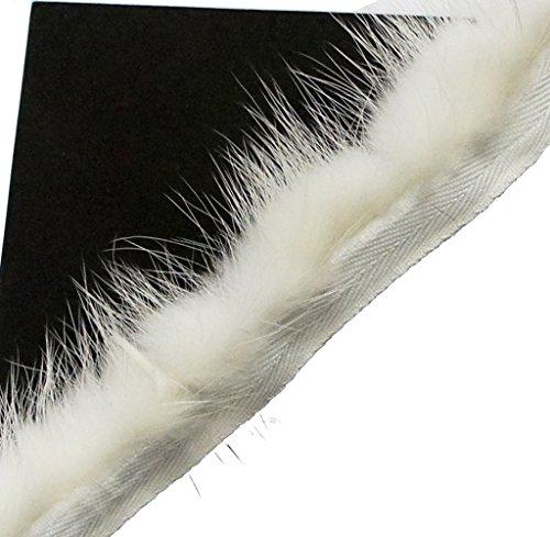 Real Mink Trim White Decorative Edge Sew in Pipe Trim appx 1 Meter