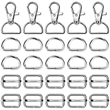 Paxcoo 50Pcs Keychain Bulk with Key Chain Swivel Hook D Rings and Slide Buckles for Handbag Purse Hardware Craft (1 Inch)