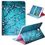 UUcovers for Samsung Galaxy Tab S2 9.7 inch Tablet 2015 Case SM-T815/T810/T813, Slim Lightweight PU Leather Wallet Cover with Card Slots Pocket Folio Stand Soft TPU Back Shockproof Shell, Pear Flower