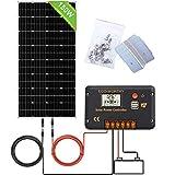 ECO-WORTHY 150W 12V Kit Panneau Solaire Monocristallin + 20A Contrôleur avec LCD pour Système Hors Réseau de RV, Caravane, Bateau