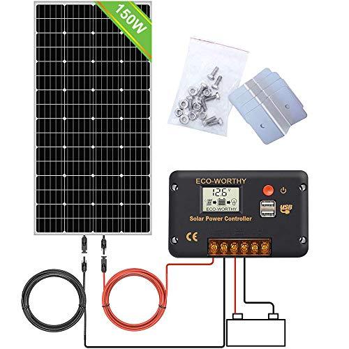 ECO-WORTHY Sistema de kit de panel solar mono 12V 150W con controlador de carga LCD 20A, cable de 5 m, soportes Z Soportes para barcos RV fuera de la red relámpago