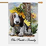 Custom House Flag, Personalized Garden Flag with Words Logo Funny Dog Welcome Welcome Decorative Yard Flag Home Decorative Banner for Spring Summer Seasonal Outside 28X40