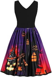 iYBUIA Summer Autumn Women Sleeveless Vintage Pumpkins Halloween Evening Prom Costume Swing Dress