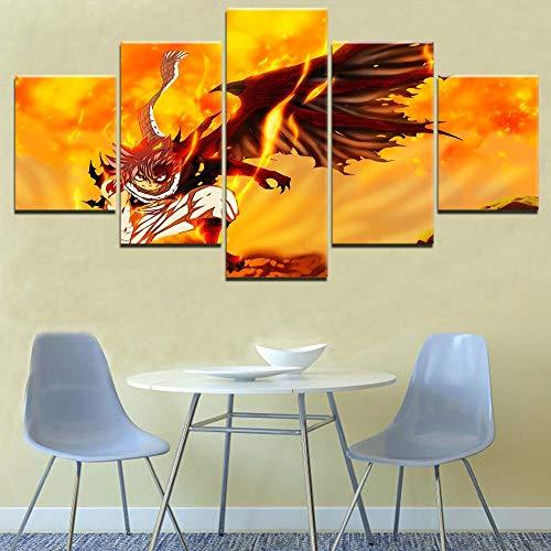 xiaoshicun Wohnkultur gedruckt Leinwand Poster 5 Bretter Anime Fairy Tail Feuer Drache hochwertige Leinwand gedruckt Malerei Restaurant Wohnkultur Wandbild 40x60 40x80 40x100cm Mit Rahmen