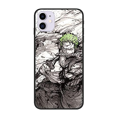 Black Thin Soft Matte Rubber Hülle Cover for Apple iPhone 12/12 Pro-One Piece-Zoro Roronoa 4