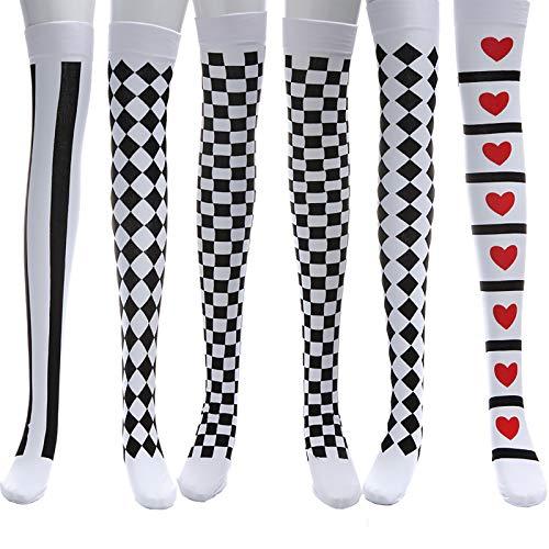 LOCOLO 3 pares de medias de payaso de Navidad bola de fiesta medias de rayas sobre la rodilla medias altas calcetines de mascarada accesorios de disfraces