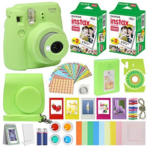 Fujifilm Instax Mini 9 Cámara instantánea con funda de transporte + película fotográfico Fuji Instax (40 hojas), paquete de accesorios, filtros de color, álbum de fotos,...