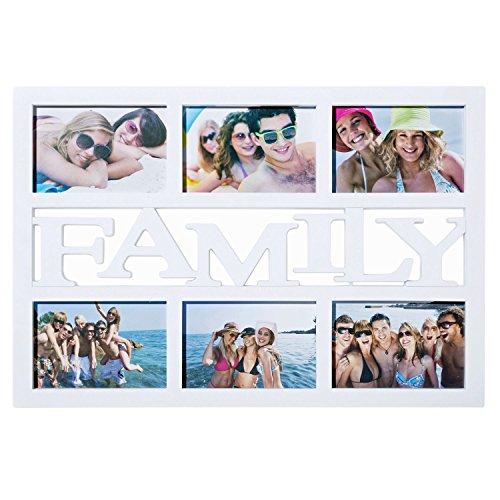 """'natractivos de familia Marco de fotos de fotos collage Marcos """"Family fotos, marco para varias imágenes Cambio Marco de soporte para familia Partner; Color Blanco"""