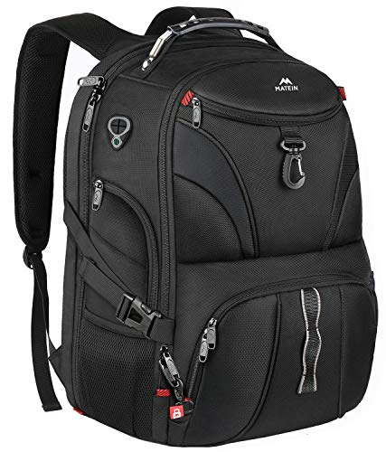 MATEIN Large Laptop Backpack, Travel Business Rucksack with USB Charging Port for Trip, Water Resistant TSA Friendly Bag for Men Women, Durable College School Bag Fits 15.6 17 Inch Computer, Black