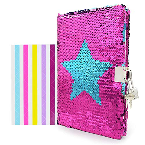 """VIPbuy Magic Reversible Star Sequin Notebook Diary Lined Travel Journal with Lock and Key for Kids Girls, Size A5 (8.5"""" x 5.5""""), 78 Sheets"""