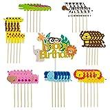 36 piezas de decoración para tartas de la selva de animales, decoración para tartas con forma de selva, guirnalda de la selva para muffins para bebés niños decoración para fiestas de cumpleaños
