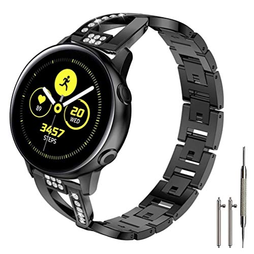 Sankel Compatible for Samsung Galaxy Watch Active 2 Bands,Women 20mm Metal Replacement Chain Bangle Rhinestone Bracelet Strap Wristband for Galaxy Watch Active/Galaxy Watch 42mm/Gear Sport (Black)