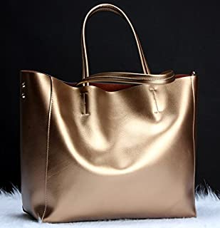 Leather 2018 New Ladies Handbags Fashion Leather Handbags Leather Bags Large Capacity Handbag Waterproof (Color : Gold, Size : M)
