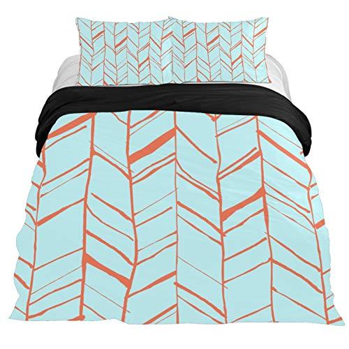 NEWzone Arrow Pattern Duvet Cover Set 3 Pieces Bedding Sets Queen Soft Microfiber Comforter Cover with Zipper Closure, (2 Pillowcase,1 Duvet Cover)