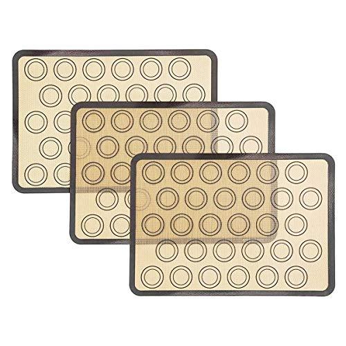 WANWE Paquete de 2 Tapetes de Silicona para Hornear, Tapete para Hornear Antiadherente, Tapete para Utensilios de Cocina Resistente Al Calor para Hacer Macarrones, Pasteles, Pizza
