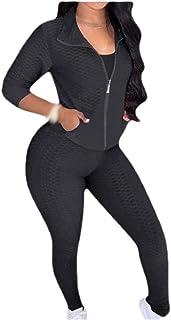 SportsXX Women's Stand Collar 2 Piece Set Yoga Zipper Pure Colour Activewear