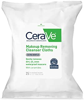 CeraVe Makeup Removing Cleanser Cloths | Makeup Wipes to Remove Dirt, Oil, & Waterproof Eye & Face Makeup | Fragrance Free...