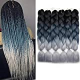 6 Packs Ombre Braiding Hair Black To Gray Ombre Braiding Synthetic Hair Synthetic Fiber Jumbo Braids Hair Extensions (Black to Green to Gray)