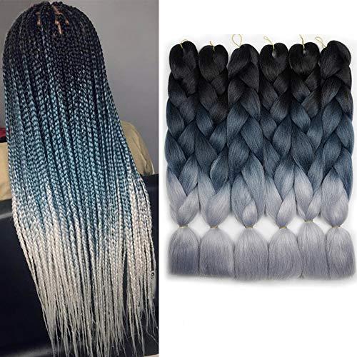 6 Packs Ombre Braiding Synthetic Hair Kanekalon Fiber Jumbo Braids Hair Extensions (Black to Green to Gray)