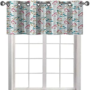 Room Darkening Window Valance, Snowman Skiing on Hills Winter Cold Nursery Boys Girls Baby Playroom Cartoon, 42″ W x 18″ L Window Treatment for for Kitchen Living Dining Room, Pale Sea Green Pink