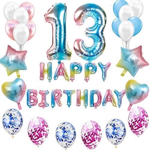 Juego de decoración de cumpleaños para niñas, jóvenes, arco iris, decoración de cumpleaños para niños de 13 años, globo con guirnalda Happy Birthday para géneros, chicas jóvenes y mujeres