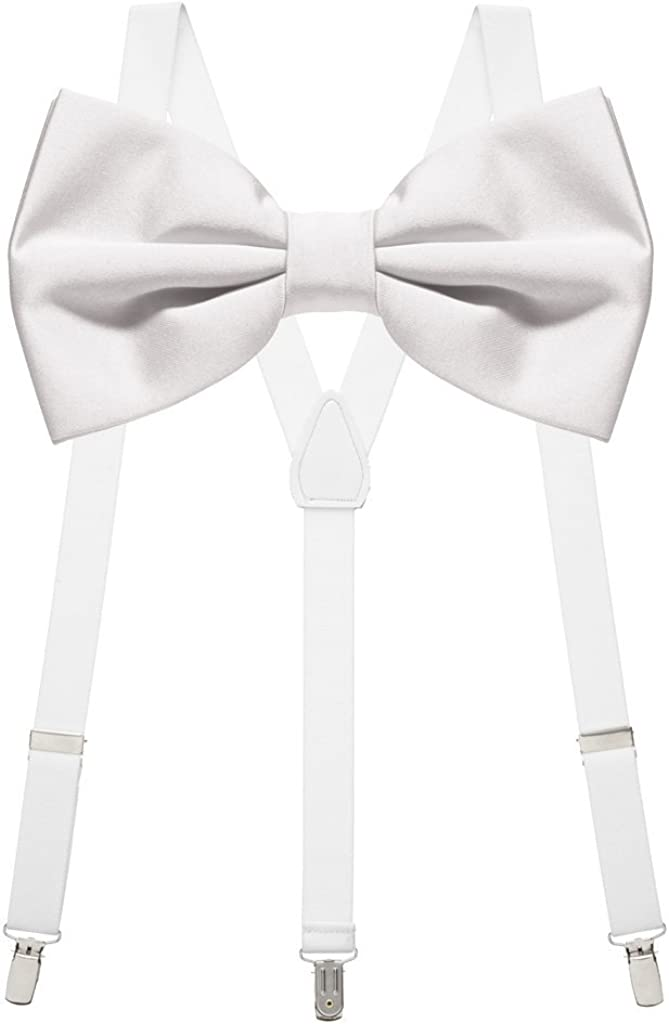 WHITE Tuxedo Bow Tie And Supenders Set For Kids Youth - PreTied Bow Tie With Adjustable Children Suspenders