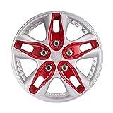 GUGSS Tapacubos Set de 4 Universal, Bicolor, Plata Roja, 12 Pulgadas