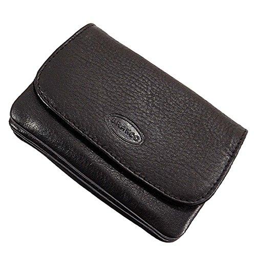 Branco praktische kleine Leder Herren Gürtelbörse aus Rindleder, Geldbörse in 3 Farben Portemonnaie mit Schlaufen für Gürtel, Geldbeutel 10 x 7 cm (Schwarz)