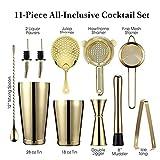 bzh De Vidrio Shaker Bar Set: 2 coctelera, colador tabuladas Set, Aparejo, Muddler y la Cuchara, Pinzas de Hielo y 2 Botella Pourer Coupe (Color : Gold Plated)