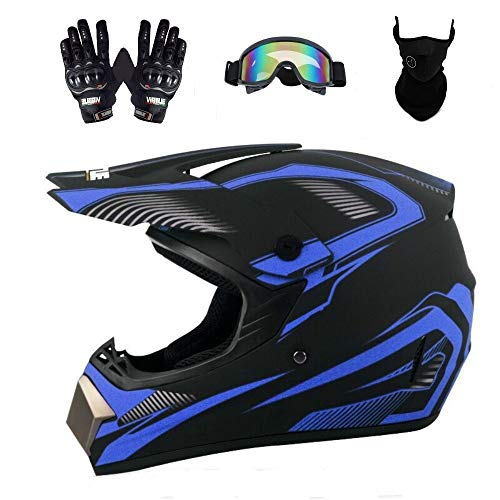 Senhill DOT Motocross Helmet Unisex Offroad Helmet Dirt Bike ATV Motorcycle Helmet with Gloves Goggles Mask (Blue, L)