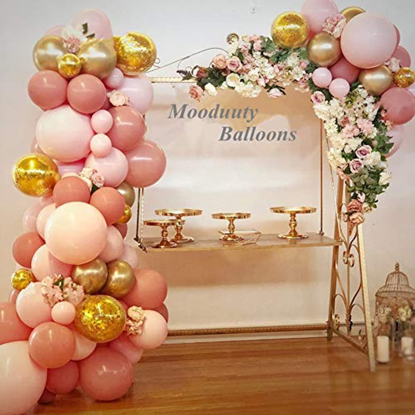 Pink and Gold Balloons,44pcs Latex Gold Metallic Balloons Gold Confetti Balloons Light Pink Balloons and Pink Giant Balloons for Wedding Photo Shoot Graduation Christmas Baby Party Decoration