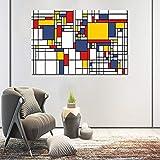JIAYOUHUO Cuadros de cuadrícula de Pintura Abstracta de Piet Cornelies Mondrian Impresiones Modernas de la Lona Arte de la Pared para la Sala de Estar Cuadros Decoración Sin Marco 50x75cm