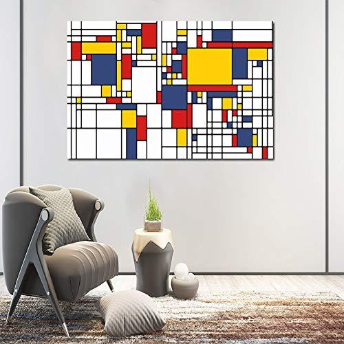 Geen lijst Abstract schilderij raster foto's door Piet Cornelies Mondriaan moderne canvas prints kunst aan de muur voor woonkamer Cuadr60x90cm