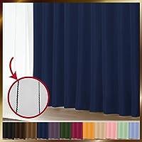 窓美人 1級遮光カーテン&UV・遮像レースカーテン 各1枚 幅150×丈178(176)cm ロイヤルブルー+ピュアブラック 断熱 遮熱 防音 紫外線カット