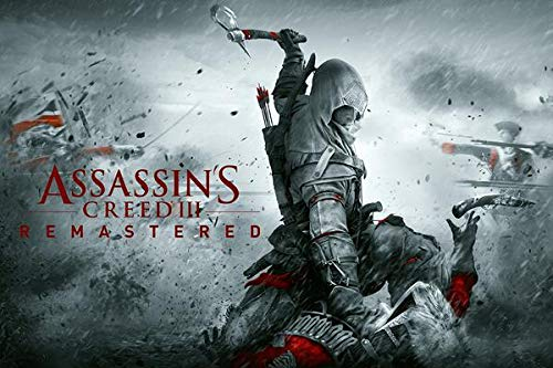 WOAIC Assassin'S Creed III Remastered Video Game Poster Pósteres For Bar Cafe Home Decor Painting Wall Sticker Frameless 24X36 Inch(60X90CM)