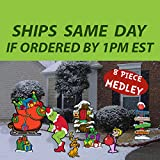 GGS 8 Piece Grinch's Merry Medley Collection Yard Art - Stakes Included