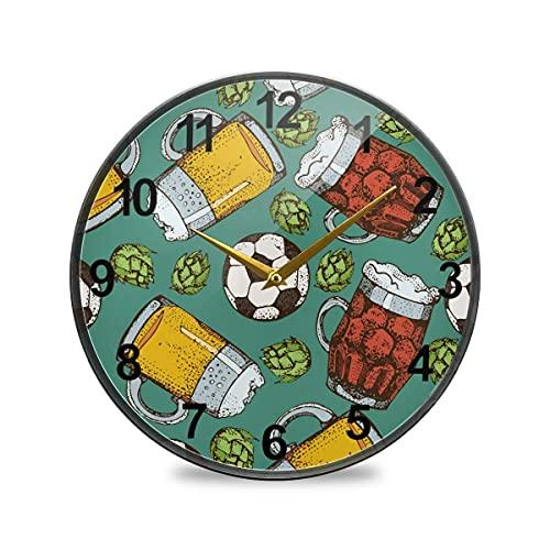 Badrumsklocka ölglas mugg fotboll boll väggklocka 25 cm icke-tickande tysta klockor för vardagsrumsinredning