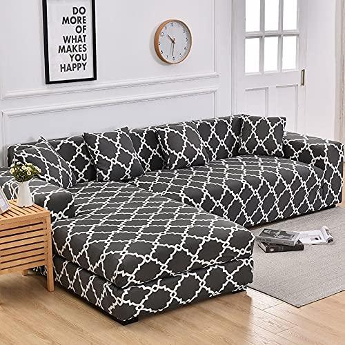 WXQY Fundas geométricas Funda de sofá elástica elástica Funda de sofá de protección para Mascotas Funda de sofá con Esquina en Forma de L Funda de sofá con Todo Incluido A7 2 plazas