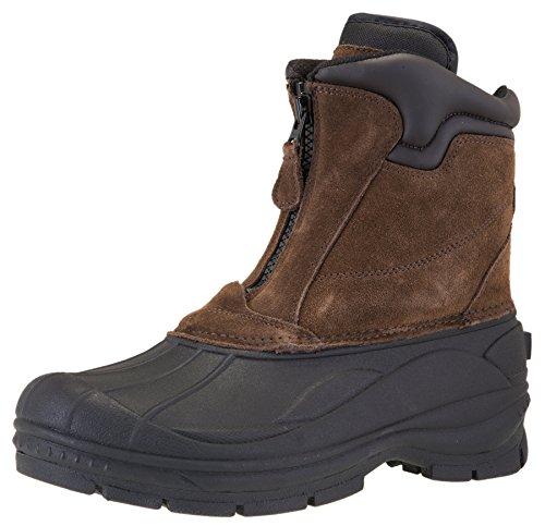 Khombu Men's Grip Waterproof Winter Front Zip Snow Boot, Brown, 10.5 W US