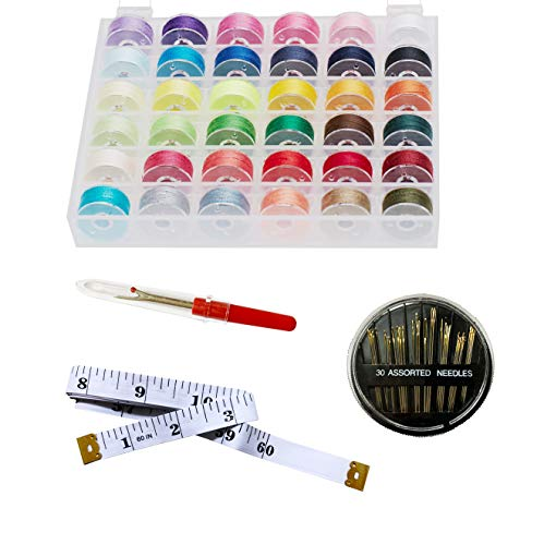 HimaPro Bobbins and Sewing Thread with Storage case for Brother, Babylock, Janome and Singer etc (Assorted Colors) (36 bobbins)