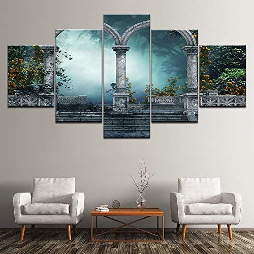 ZLARGEW Pintura en Lienzo Clásico Arco Retro en el jardín 5 Piezas Arte de la Pared Pintura Modular Poster...