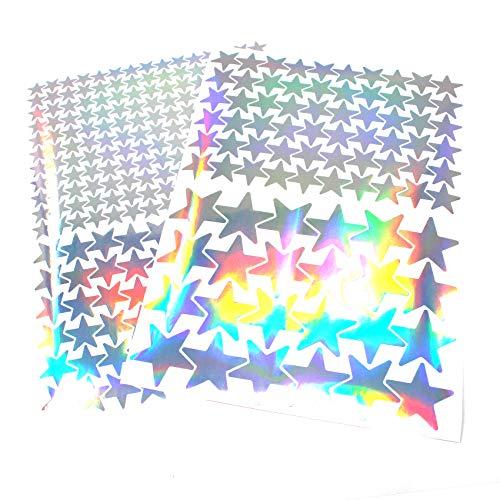 Finest Folia 309 Sterne Aufkleber Set Sticker Deko Folie selbstklebend Glitter Hologramm Oilslick Bastelmaterial zum Basteln (Hologramm K016)